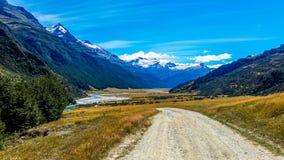 Panoramic view of Mount Aspiring National Park vally and mountains stock photos