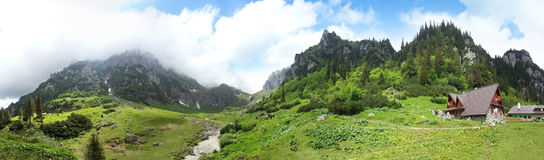 Panoramic view of Mount Bucegi on summer Royalty Free Stock Photos
