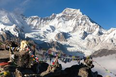 Panoramic view of mount Cho Oyu and mount Gyachung Kang Stock Photography