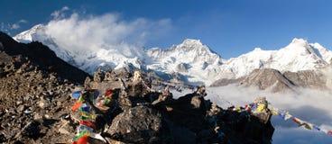 Panoramic view of mount Cho Oyu and mount Gyachung Kang Royalty Free Stock Image