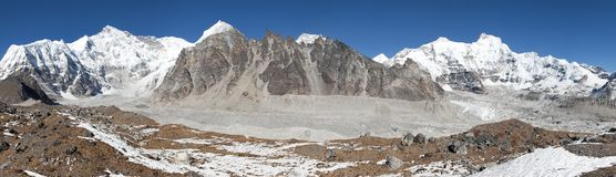 Panoramic view of mount Cho Oyu Stock Photos