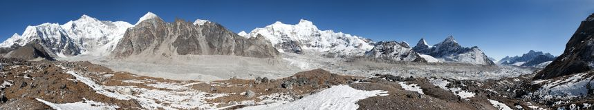 Panoramic view of mount Cho Oyu Stock Photo