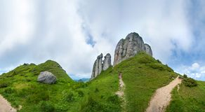 Panoramic view of Mount Ciucas on summer with rock formations royalty free stock photos