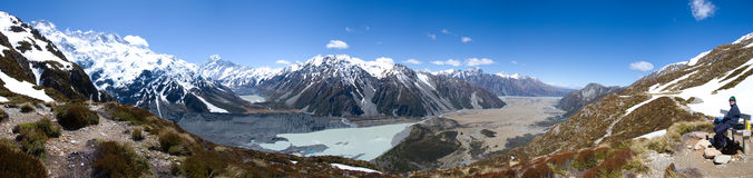 Panoramic view of Mount Cook Stock Photos