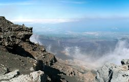 Panoramic view from mount Etna Royalty Free Stock Photography