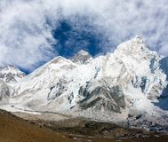 Panoramic view of Mount Everest with beautiful sky and Khumbu Glacier Stock Photo