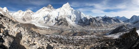 Panoramic view of Mount Everest with beautiful sky Stock Images
