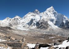 Panoramic view of Mount Everest with beautiful sky Royalty Free Stock Images