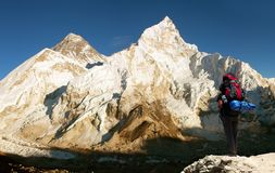 Panoramic view of Mount Everest Royalty Free Stock Photos