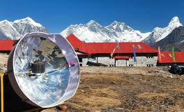 Panoramic view Mount Everest from Kongde village Stock Photos