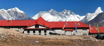Panoramic view Mount Everest from Kongde village Royalty Free Stock Images