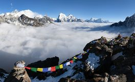Panoramic view of Mount Everest, Lhotse and Makalu Stock Photo