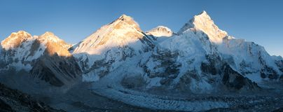 Panoramic view of Mount Everest, Lhotse and Nuptse Stock Photos