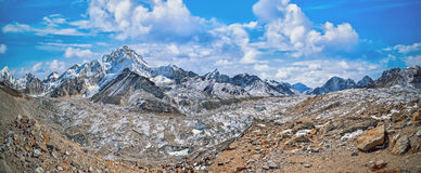 Panoramic view of Mount Everest and Nuptse  glacier and ice-fall khumbu Stock Image