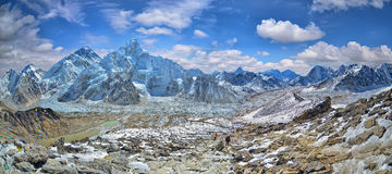 Panoramic view of Mount Everest and Nuptse  glacier and ice-fall khumbu Stock Photography