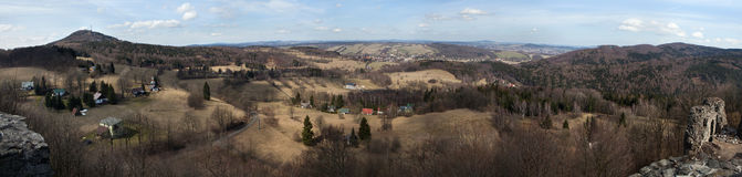 Panoramic view of Mount Jedlova in the Lusatian Mountains royalty free stock images