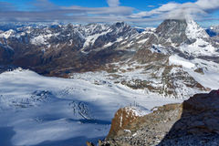 Panoramic view of mount Matterhorn covered with clouds, Alps, Switzerland Royalty Free Stock Photos