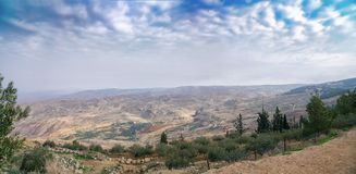 Panoramic view from the mount Nebo royalty free stock image