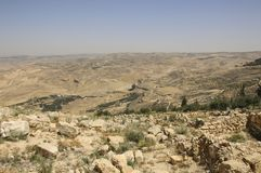 Panoramic view from Mount Nebo in Jordan where Moses viewed to t stock image