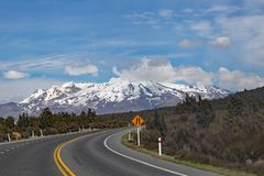 Panoramic view of Mount Ngauruhoe in Tongariro National Park. It featured as Mount doom in the Lord of the Rings films.  stock photos