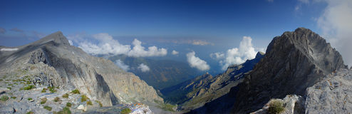 Mount Olympus National Park Adventure Panorama Greece Climbing Discovering. Panoramic view of the Mount Olympus - mythical throne of the gods, National park stock images