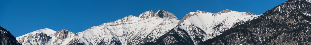 Panoramic view of Mount Olympus peaks in winter Royalty Free Stock Photo
