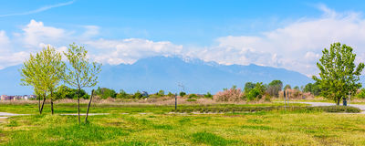 Panoramic view of mount Olympus, Pieria, Makedonia, Greece Royalty Free Stock Image