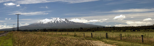 A panoramic view on Mount Ruapehu. Panorama of the Mount Ruapehu in the Tongariro National Park on the North Island of New Zealand Stock Image