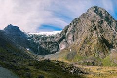 Panoramic View of Mount Talbot in New Zealand. Panoramic View of Mount Talbot glacier on the way to Milford Sound, close to Homer Tunnel in Fiordland National Royalty Free Stock Image