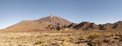 Panoramic View of Mount Teide. In summer, Tenerife, Spain Royalty Free Stock Photos