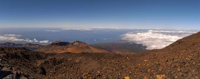 Panoramic View from Mount Teide. In summer, Tenerife, Spain Royalty Free Stock Image