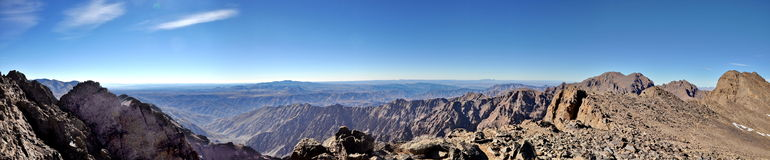 Panoramic view from Mount Toubkal Royalty Free Stock Photo