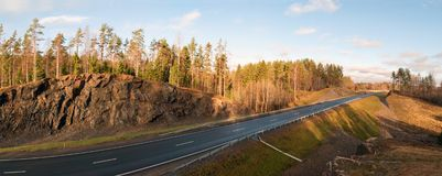 Panoramic view from the mountain along the route A-121 Sortavala in Karelia. Russia. Autumn landscape highway A-121 Sortavala in Karelia. Russia stock photo