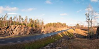 Panoramic view from the mountain along the route A-121 Sortavala in Karelia. Russia. Autumn landscape highway A-121 Sortavala in Karelia. Russia royalty free stock photo