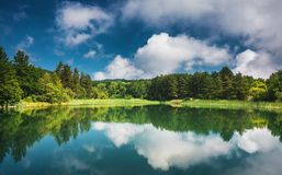 Panoramic view on mountain lake royalty free stock photography