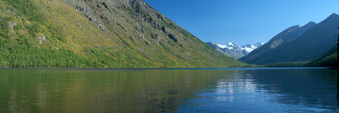 Panoramic view of mountain lake Royalty Free Stock Photo