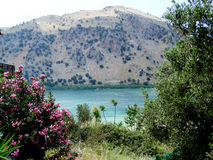 Panoramic view of mountain lake Greece Royalty Free Stock Photos