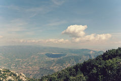 Panoramic view of mountain landscape; filtered, retro style Stock Photography