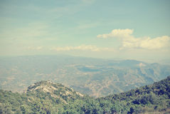 Panoramic view of mountain landscape; filtered, retro style Royalty Free Stock Image