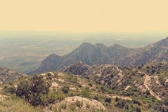 Panoramic view of mountain landscape; filtered, retro style Royalty Free Stock Photography