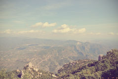 Panoramic view of mountain landscape; filtered, retro style Royalty Free Stock Photos