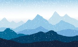 Panoramic view of the mountain landscape with fog in the valley. Below with the snowfall Royalty Free Stock Image
