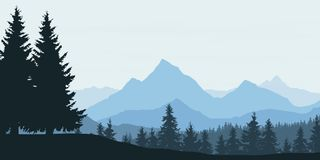 Panoramic view of mountain landscape with forest and hill under Royalty Free Stock Images