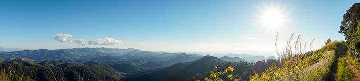 Panoramic view of Mountain landscape with sun Stock Photography