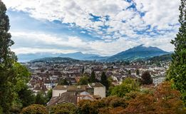 Panoramic view from the mountain on Lucerne and Lake Lucerne, Switzerland royalty free stock photos