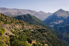 Panoramic view of mountain in National Park of Tzoumerka, Greece Epirus region. Mountain. Panoramic view of mountain in National Park of Tzoumerka, Greece Epirus royalty free stock image