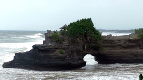 Panoramic view from the mountain near the Pura Tanah Lot temple on sea cliff in Bali, Indonesia stock video