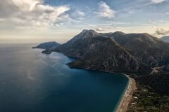 Panoramic view from the mountain over the Kas rivera ,hiking up Lycian trail mountain of Kas. Turkey stock image