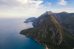 Panoramic view from the mountain over the Kas rivera ,hiking up Lycian trail mountain of Kas. Turkey royalty free stock photo