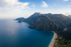 Panoramic view from the mountain over the Kas rivera ,hiking up Lycian trail mountain of Kas. Turkey royalty free stock image